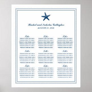 Estrellas de mar agraciadas de los azules marinos póster