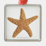 Estrellas de mar aisladas en blanco adorno navideño cuadrado de metal