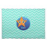 Estrellas de mar anaranjadas; Aguamarina Chevron Mantel Individual