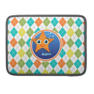 Estrellas de mar anaranjadas en el modelo colorido funda para macbook pro