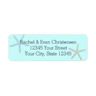 Estrellas de mar azules de la playa etiqueta de remite