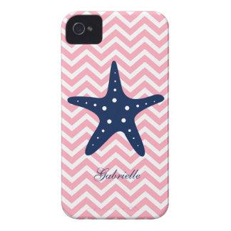 Estrellas de mar azules y rosadas blancas del mode Case-Mate iPhone 4 fundas