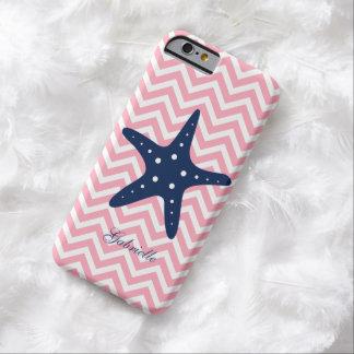 Estrellas de mar azules y rosadas del modelo de funda para iPhone 6 barely there