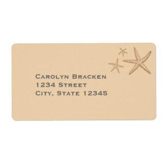 Estrellas de mar beige hermosas de la playa etiquetas de envío