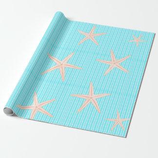 Estrellas de mar coralinas en la aguamarina azul papel de regalo