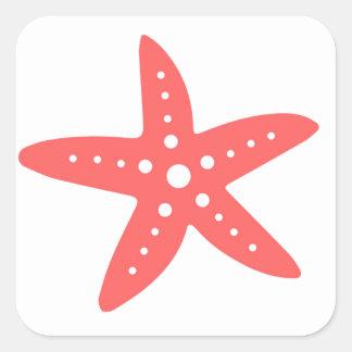 Estrellas de mar coralinas pegatina cuadradas personalizadas