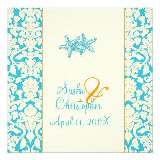 Estrellas de mar + damasco/aguamarina que casa invitación