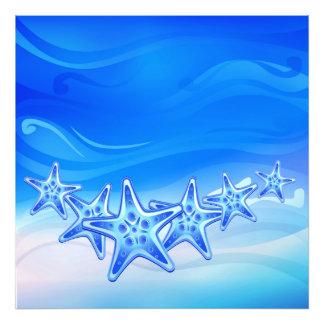 Estrellas de mar de la impresión de la foto cojinete