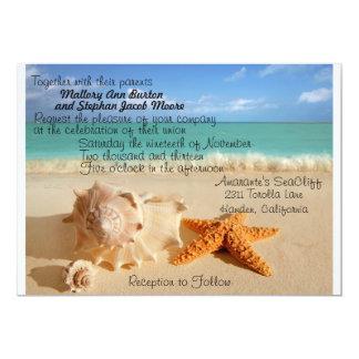 """¡Estrellas de mar de la playa que casan el Invitación 5"""" X 7"""""""