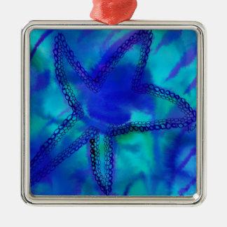 Estrellas de mar de la turquesa adorno navideño cuadrado de metal