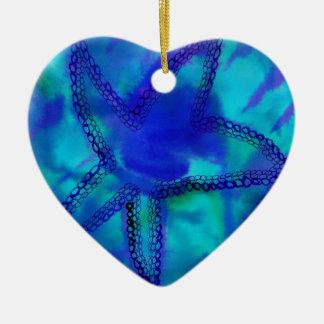 Estrellas de mar de la turquesa adorno navideño de cerámica en forma de corazón