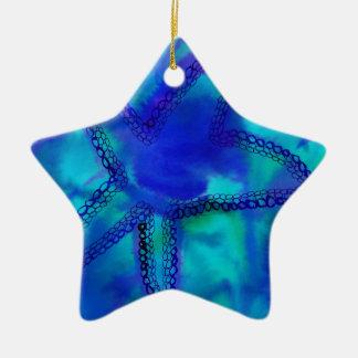 Estrellas de mar de la turquesa adorno navideño de cerámica en forma de estrella
