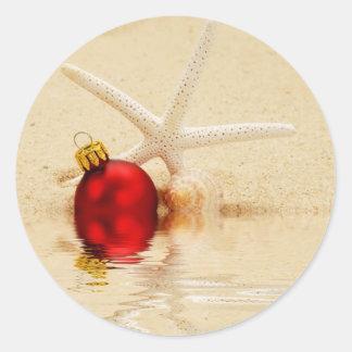 Estrellas de mar de las Felices Navidad Pegatina Redonda