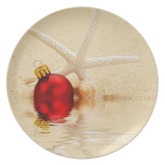 Estrellas de mar de las Felices Navidad Plato De Cena