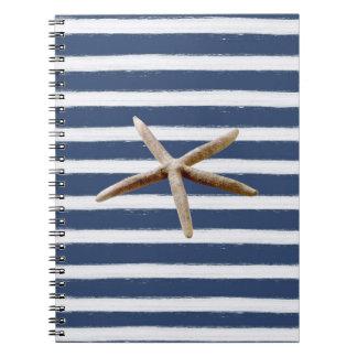 Estrellas de mar de las rayas de los azules marino libros de apuntes con espiral