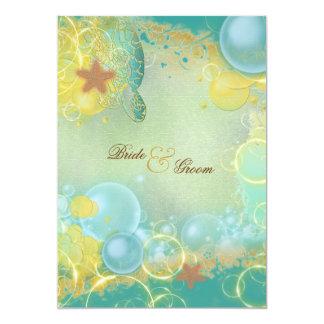Estrellas de mar de las tortugas del tema del boda invitación 12,7 x 17,8 cm