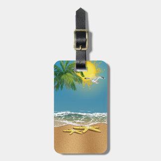 Estrellas de mar de los pares en la etiqueta del e etiquetas de equipaje