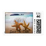 Estrellas de mar de los pares en la playa. Ahorre  Franqueo