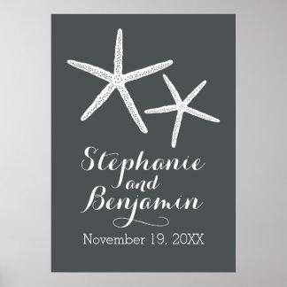 Estrellas de mar del boda con el novio y la fecha póster