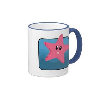 Estrellas de mar del dibujo animado taza de dos colores
