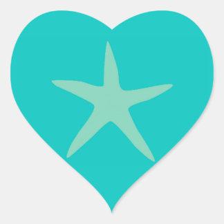 Estrellas de mar del moreno y de la turquesa pegatina en forma de corazón