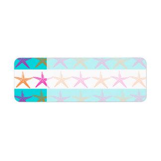 Estrellas de mar del tema de la playa del verano e etiqueta de remitente