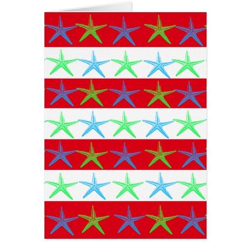 Estrellas de mar del tema de la playa del verano e tarjeton
