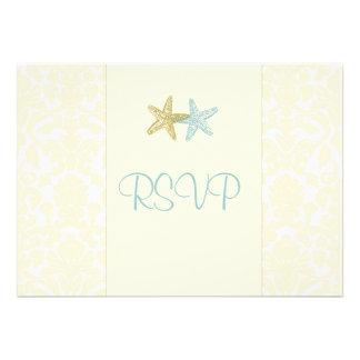Estrellas de mar + el damasco RSVPs requiere las Invitación Personalizada