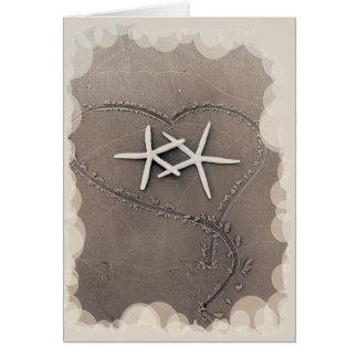 Estrellas de mar en el corazón Notecard Tarjeta De Felicitación