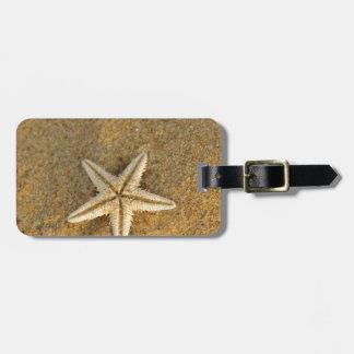 Estrellas de mar en la arena etiquetas de equipaje