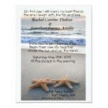 Estrellas de mar en la invitación del boda de la