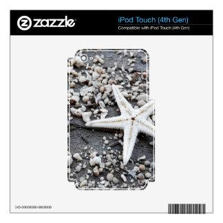 Estrellas de mar en la madera apenada - impresión calcomanía para iPod touch 4G