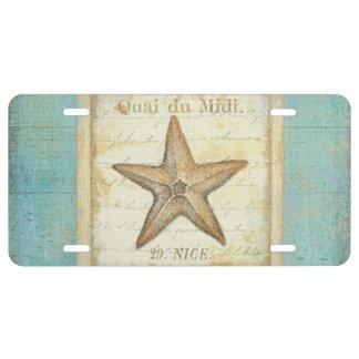 Estrellas de mar en la madera del trullo placa de matrícula