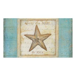 Estrellas de mar en la madera del trullo tarjetas de visita