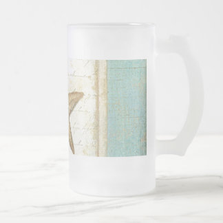 Estrellas de mar en la madera del trullo taza de cristal