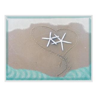 Estrellas de mar en postal del corazón