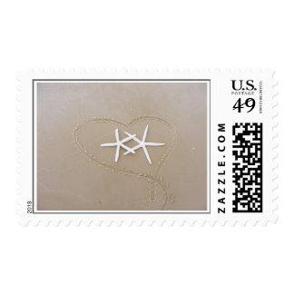 Estrellas de mar en sellos del corazón