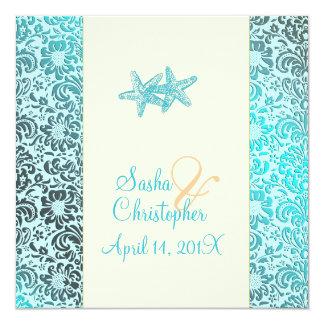 Estrellas de mar + invitaciones del boda del comunicado personal