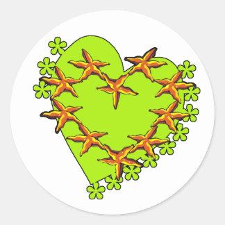 Estrellas de mar irlandesas pegatinas redondas