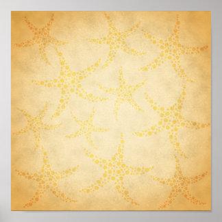 Estrellas de mar manchadas en modelo del estilo de póster