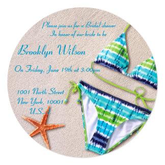 """Estrellas de mar nupciales del bikini de las invitación 5.25"""" x 5.25"""""""