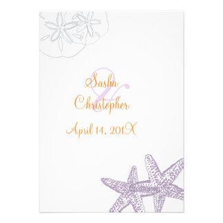 Estrellas de mar/púrpura+invitaciones anaranjadas  invitaciones personalizada