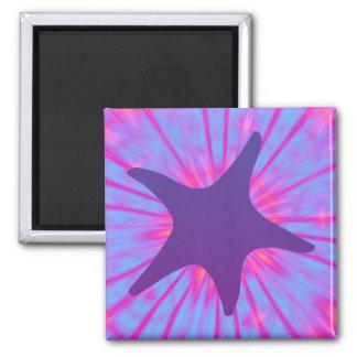 Estrellas de mar púrpuras imán cuadrado