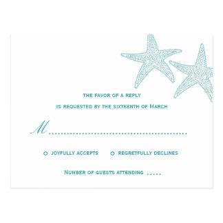 Estrellas de mar que casan la postal de RSVP - tur