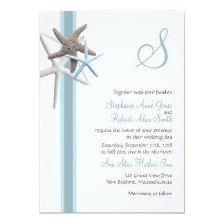 Estrellas de mar que recolectan invitaciones cones anuncio personalizado