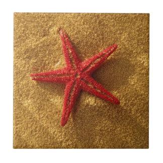 estrellas de mar rojas azulejo cuadrado pequeño
