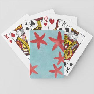 Estrellas de mar rojas y azules barajas de cartas