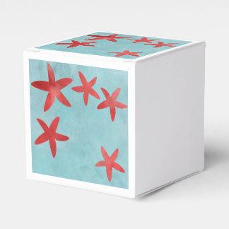 Estrellas de mar rojas y azules caja para regalos