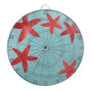 Estrellas de mar rojas y azules tablero dardos