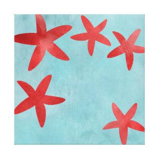 Estrellas de mar rojas y azules impresión en lienzo estirada